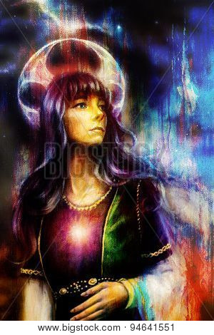 Fantastic Woman With Ornaments On Space, Color Painting And Structure Background.