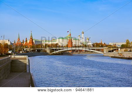 Kremlin on sunset - autumn in Moscow Russia