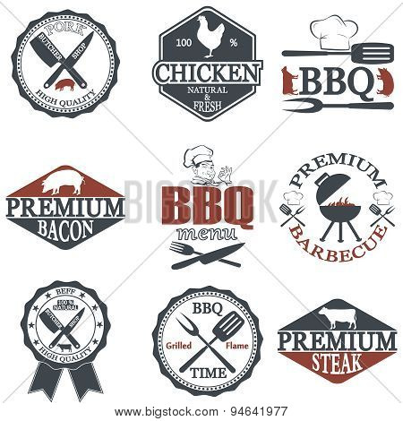 Set of butcher shop labels