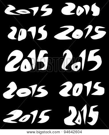 2015 Date In White Sharp Fluid Fonts Over Black