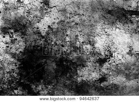 Abstract Background With Spots And Crackle Structure. Black And White