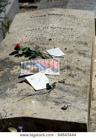 PARIS FRANCE - SEPT 12 2014: Amedeo Modigliani and Jeanne Hebuterne grave in Pere-Lachaise cemetery Paris France