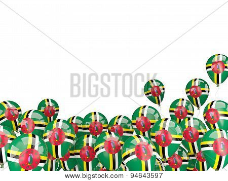 Flying Balloons With Flag Of Dominica