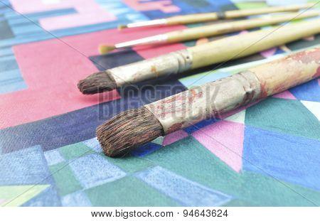 Old Paintbrush On Paint Image