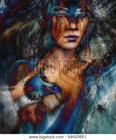 Woman And Flying Eagle. Beautiful Painting Illustration Collage
