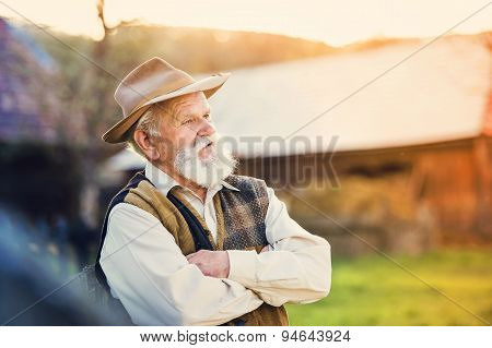 Farmer outside in nature