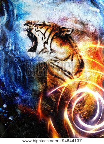 Painting  Tiger, Collage On Drop And Spot  Background, Wildlife Animals. And Light Circle.