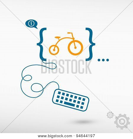 Bicycle And Flat Design Elements