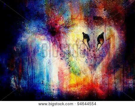 Romantic Two Swans On Color Abstract Structure Background. Rainbow Color.