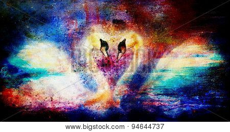 Romantic Two Swans On Color Abstract Structure Background.