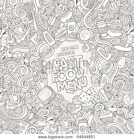 Fast food doodles elements frame background