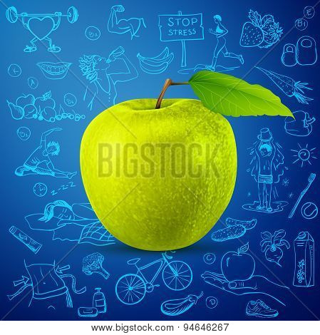healthy lifestyle background with green apple