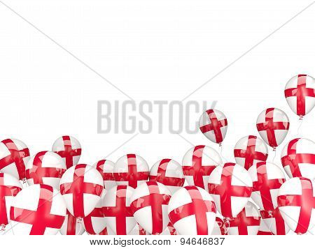 Flying Balloons With Flag Of England