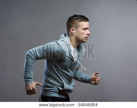 Runner in a studio