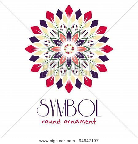 Ornamental logo template design. Vector circular symbol