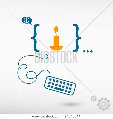 Candle And Flat Design Elements