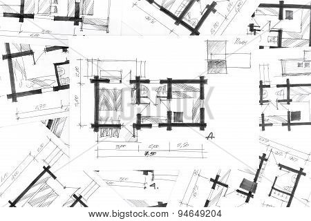 Architectural Sketches A Pencil As Background
