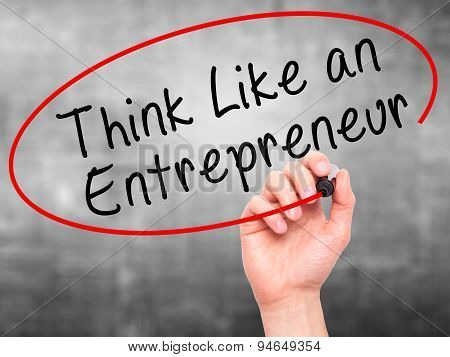 Man Hand writing Think Like an Entrepreneur with black marker on visual screen.