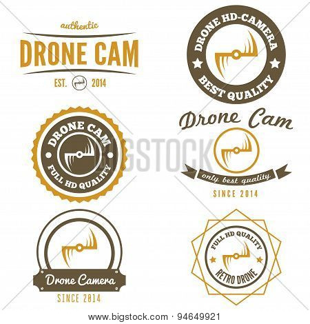 Set of logo, label, emblem or logotype for drone and flying camera