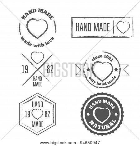 Set of vintage retro handmade badges, labels and logo elements, symbols