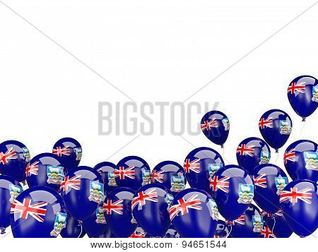 Flying Balloons With Flag Of Falkland Islands