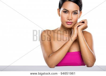young Balinese woman with healthy skin, spa portrait over white