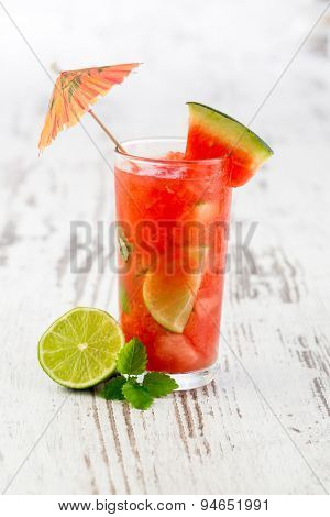 Watermelon Caipirinha - Cocktail with watermelon and lime