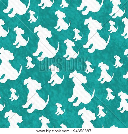 Teal And White Puppy Dog Tile Pattern Repeat Background