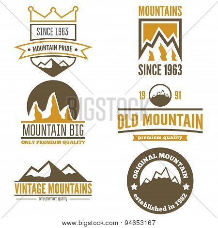 Set of vintage logo, emblem, label, print or logotype elements with mountains