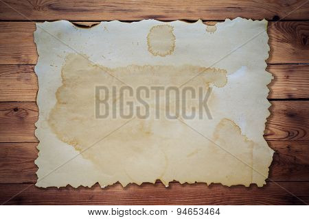 Old Paper On Wood Background And Texture With Space.
