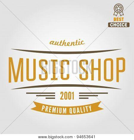 Vintage logo, badge, emblem or logotype elements for music shop, guitar shop