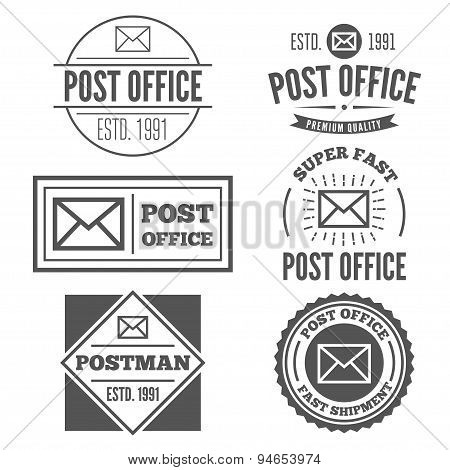 Set of vintage logo, badge, emblem or logotype elements for post office and other design