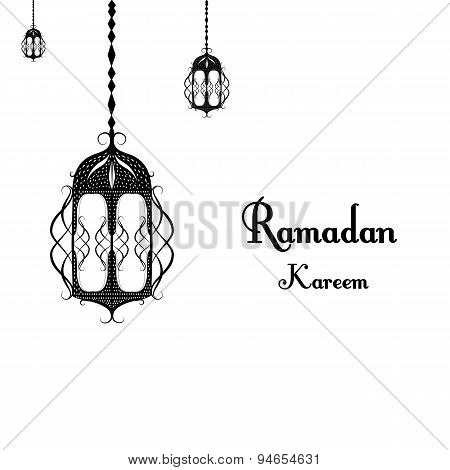 black and white traditional lantern of Ramadan- Ramadan Kareem beautiful greeting card with arabic c