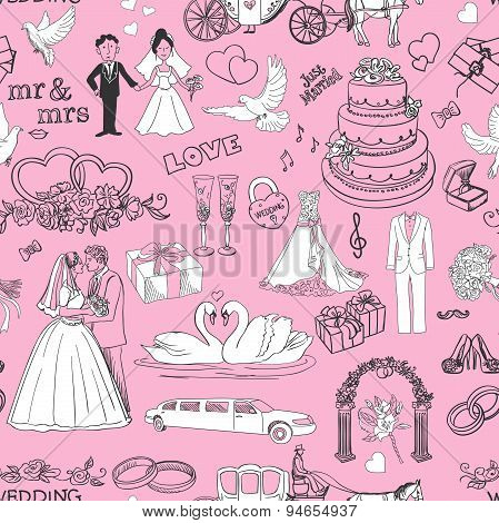 Seamless pattern with wedding icons