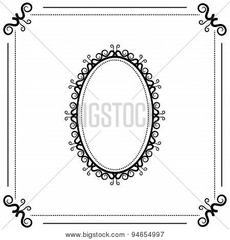 vintage black and white background with oval frame