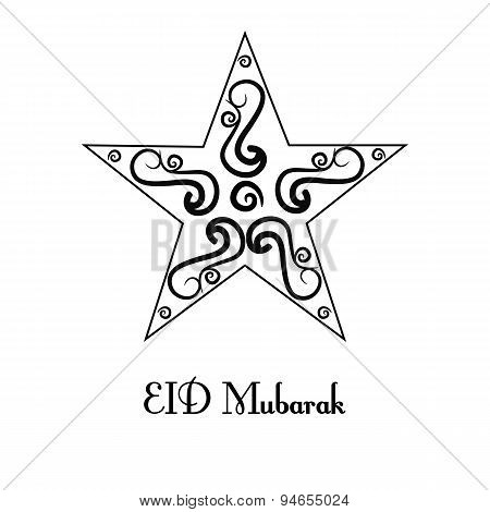 vintage black and white greeting card for Eid Mubarak festival , Crescent star decorated on white ba