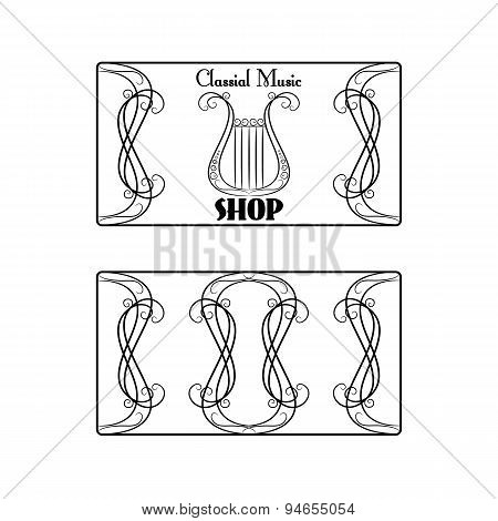 black and white vintage sided business card in with the image of a harp on the white background
