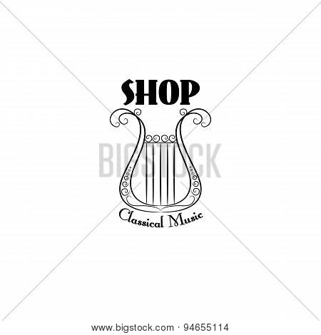 Black and white vintage logo for classic lyra on white background.