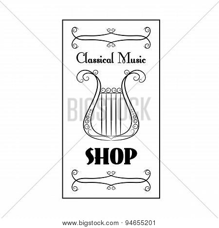 black and white vintage poster classical music shop with the image of a harp on the white background
