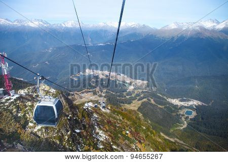 Cable Cars Going To The Ski Resort In  Sochi