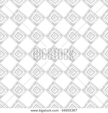 Hand drawn geometric seamless pattern on white background