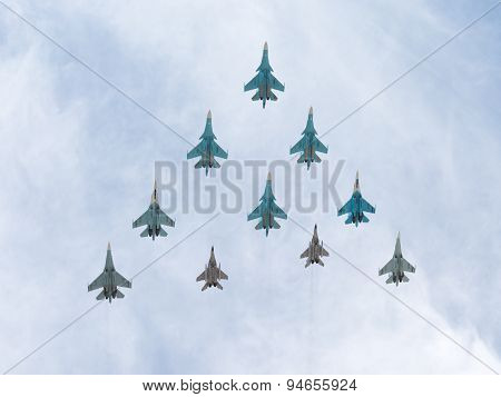 Mig-29 And Sukhoi Flying Pyramid