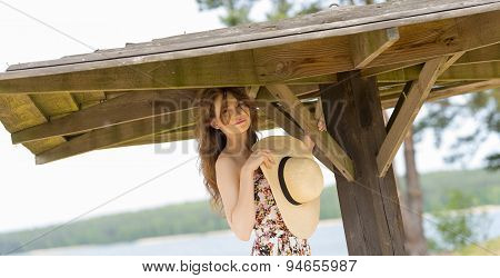 Smiling Girl Outdoor Near Lake