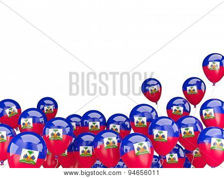Flying Balloons With Flag Of Haiti