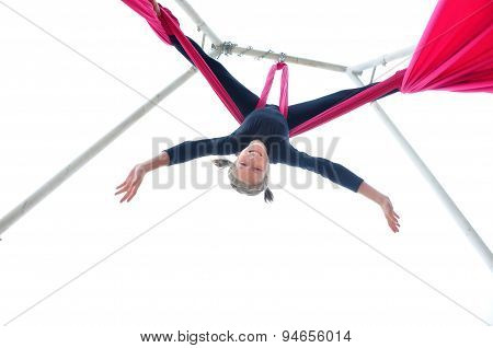 Cheerful Child Training On Aerial Silks