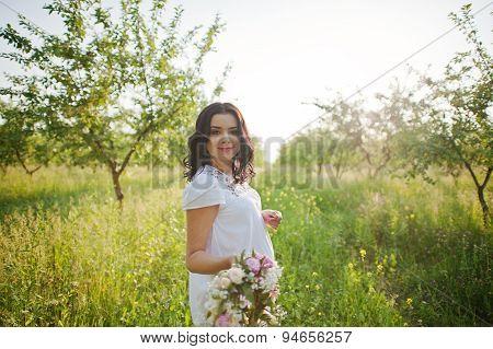Pregnant Gorgeous Brunette Woman