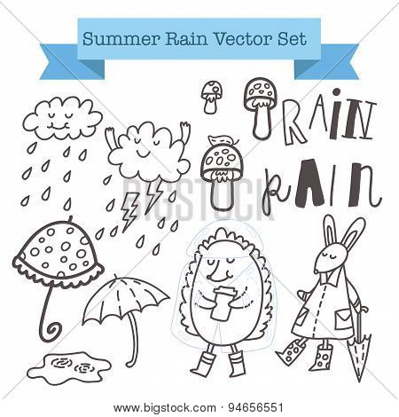 Summer rain vector set
