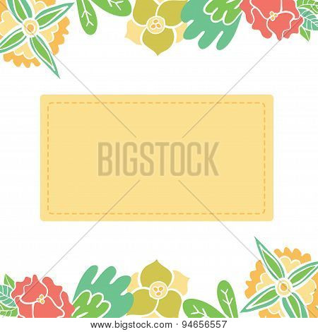 Greeting vector card with floral wreath. Bright illustration, can be used as invitation card for wed