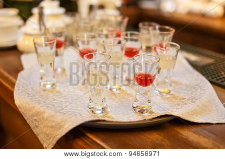 Red and white shot drinks
