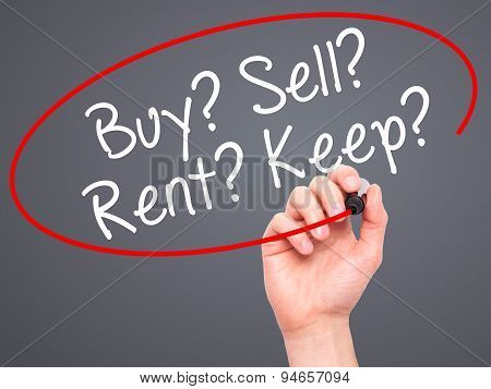 Man Hand writing Buy? Sell? Rent? Keep? with black marker on visual screen
